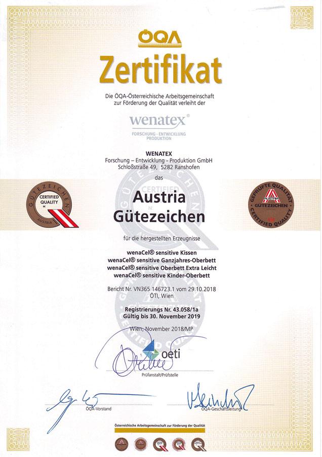 wenatex Zertifikat Austria Gütezeichen der ÖQA für das wenaCel sensitive Bettdecken und Kissen