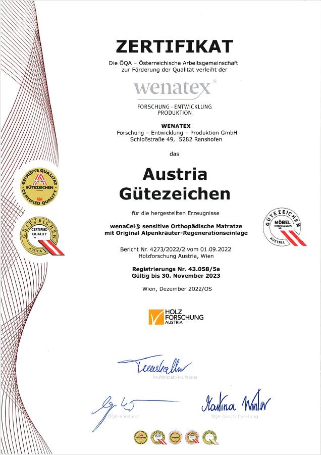 wenatex Zertifikat Austria Gütezeichen der ÖQA für die wenaCel sensitive Orthopädische Matratze und die Wenatex Alpenkräuter Regenerationseinlage