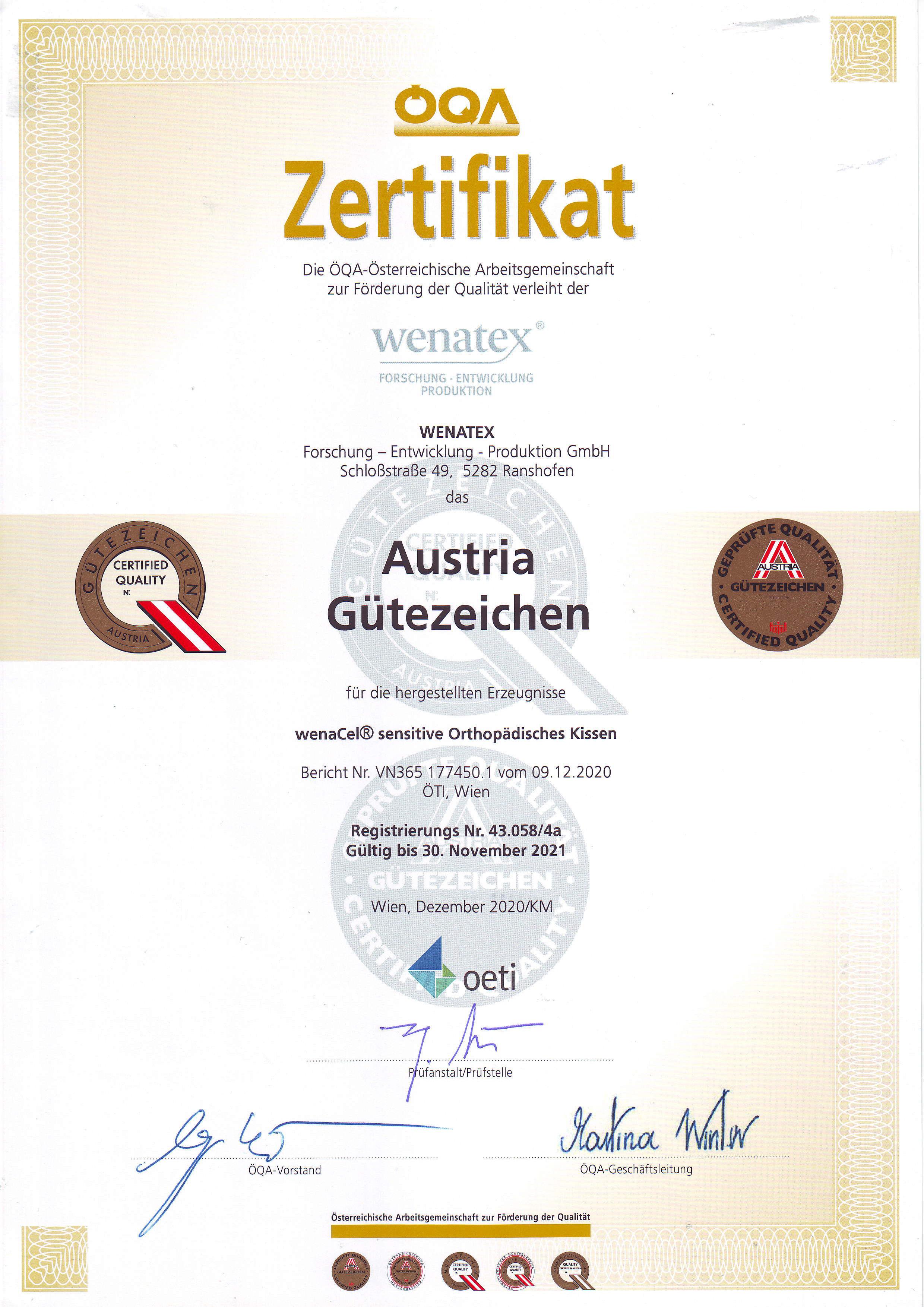 wenatex Zertifikat Austria Gütezeichen der ÖQA für das wenaCel sensitive Orthopädische Kissen