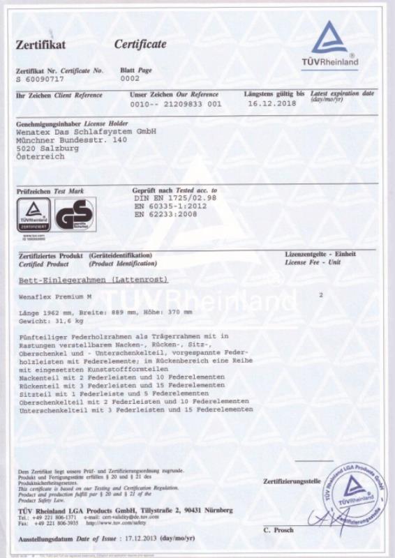 wenatex Zertifikat Geprüfte Sicherheit der TÜV Rheinland Products GmbH für Wenatex Produkte