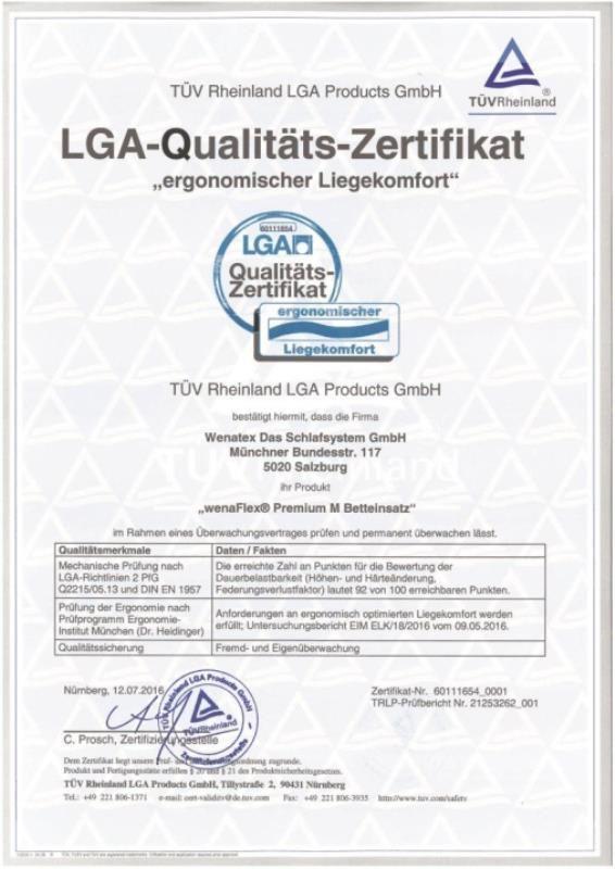 LGA-Qualitätszertifikat Ergonomischer Liegekomfort für den Wenatex Betteinsatz wenaFlex Premium M
