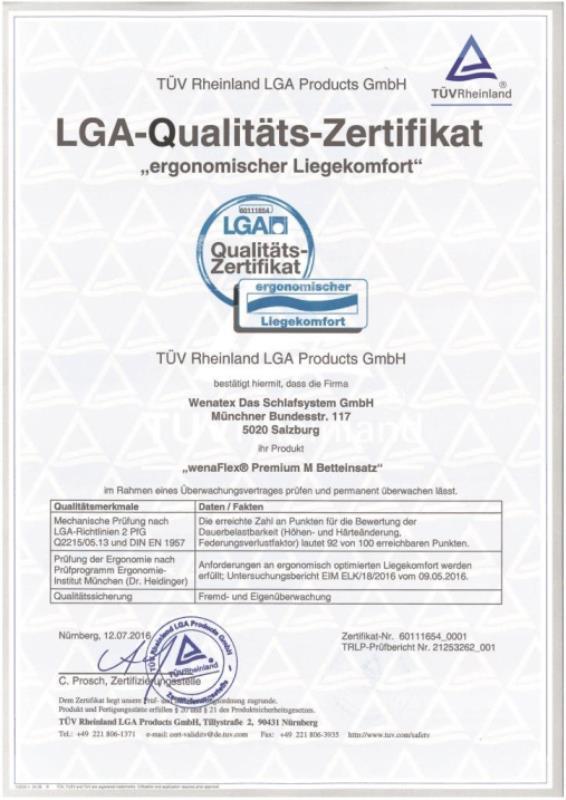 wenatex LGA-Qualitätszertifikat Ergonomischer Liegekomfort für den Wenatex Betteinsatz wenaFlex Premium M