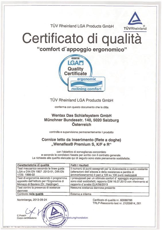 """Certificato di qualità """"comfort di appoggio ergonomico"""" della TÜV Rheinland LGA Products GmbH"""