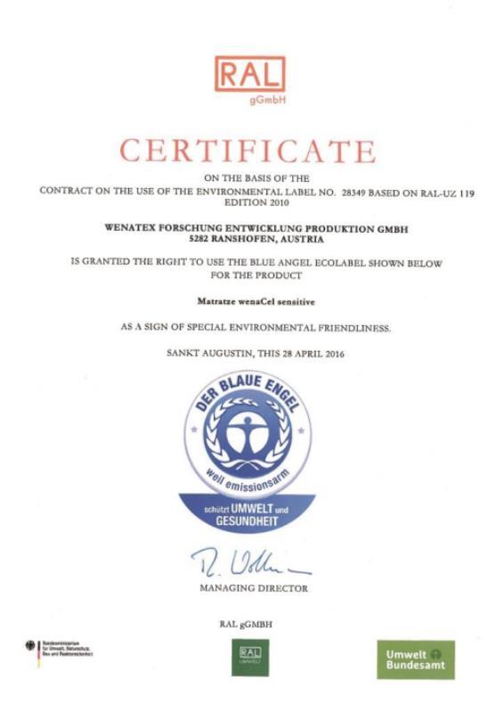 Certificato Angelo Blu dall'agenzia RAL gGmbH