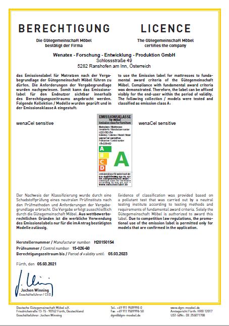 Zertifikat RAL Gütezeichen für Möbel der Deutsche Gütegemeinschaft Möbel e.V. bescheinigt Gesamtqualität der Wenatex-Produkte