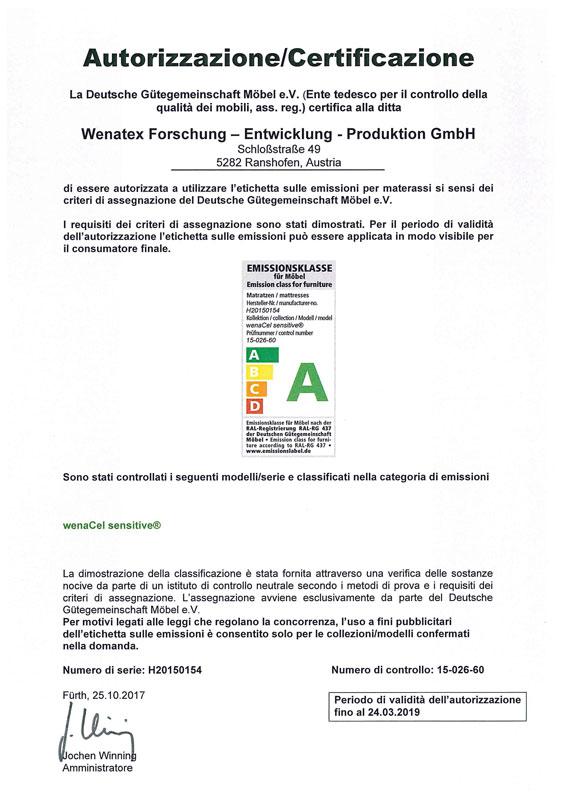 Certificato di qualità secondo RAL-GZ 430 della Deutsche Gütegemeinschaft Möbel ass. reg.