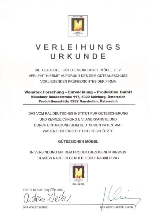 Verleihungsurkunde Gütezeichen Möbel der deutschen Gütegemeinschaft Möbel e.V.