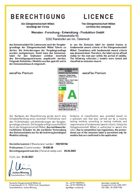 Bescheinigung Emissionsklasse A der Deutschen Gütegemeinschaft Möbel e.V. für den Wenatex Betteinsatz wenaFlex Premium