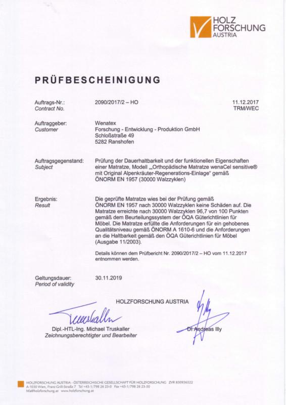 rüfbescheinigung der Holzforschung Austria bescheinigt Qualität der Wenatex Produkte