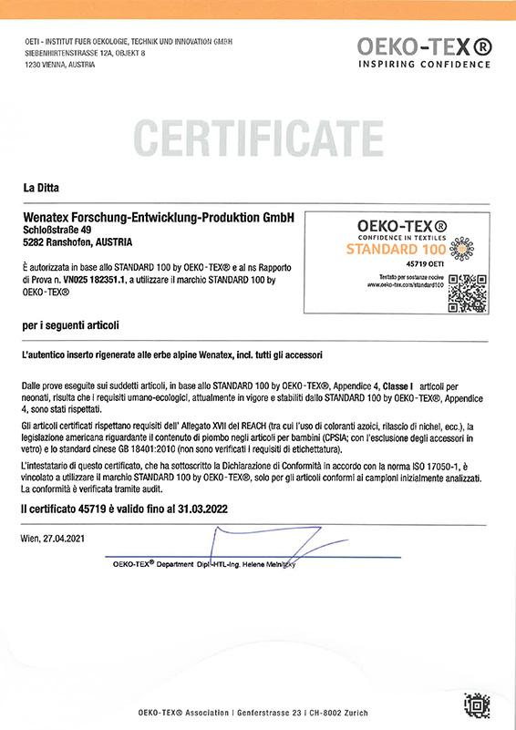 """Certificato """"Fiducia nel tessile"""" testato per sostanze nocive secondo Oeko-Tex® Standard 100 per l'originale inserto rigenerante alle erbe alpine Wenatex"""