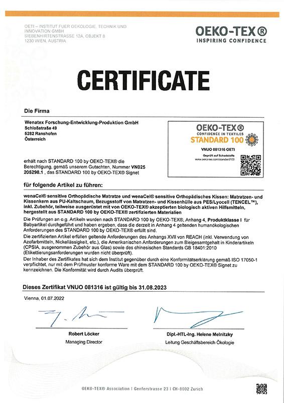 wenatex OEKO-TEX® Standard 100 Zertifikat bescheinigt Wenatex-Produkten höchstmögliche Schadstofffreiheit