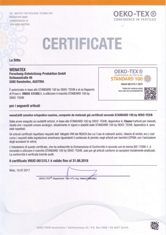 """Certificato """"Fiducia nel tessile"""" testato per sostanze nocive secondo Oeko-Tex® Standard 100"""