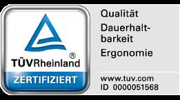 Zertifikat für Qualität, Dauerhaltbarkeit und Ergonomie der TÜV Rheinland Products GmbH für Wenatex Produkte