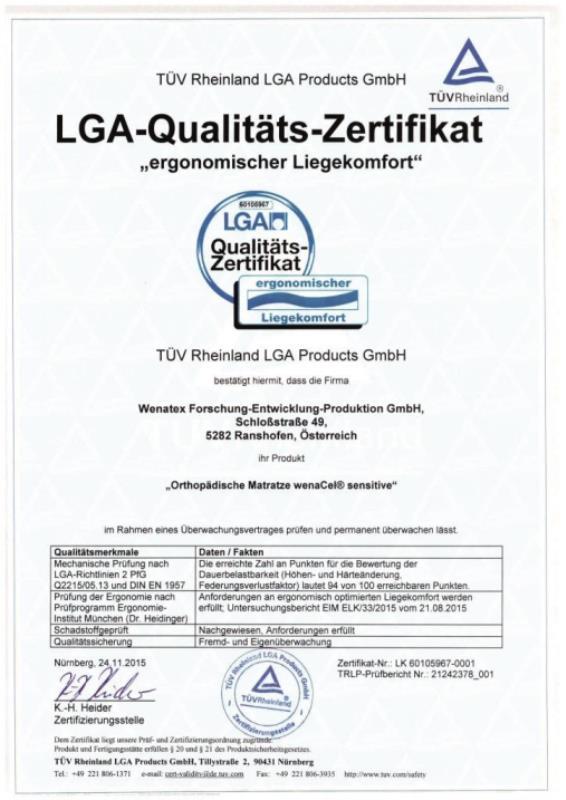 LGA-Qualitäts-Zertifikat ergonomischer Liegekomfort für die Wenatex Matratze wenaCel sensitive