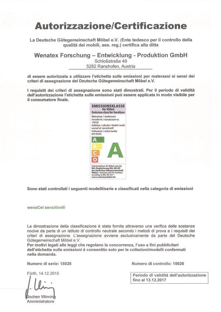 Autorizzazione della Deutsche Gütegemeinschaft Möbel e.V.