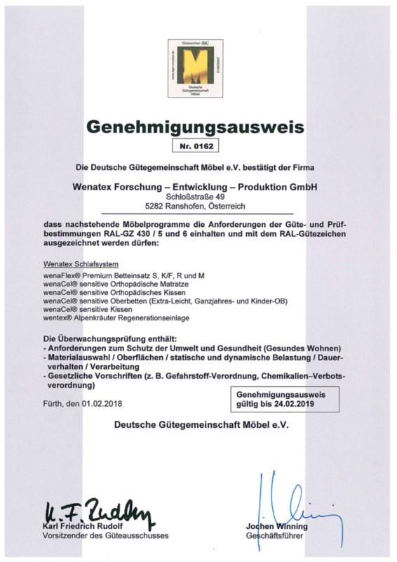 Wenatex Genehmigungsausweis goldenes M
