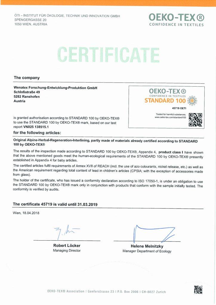 Wenatex_alpineherbs_Certificate_oekotex